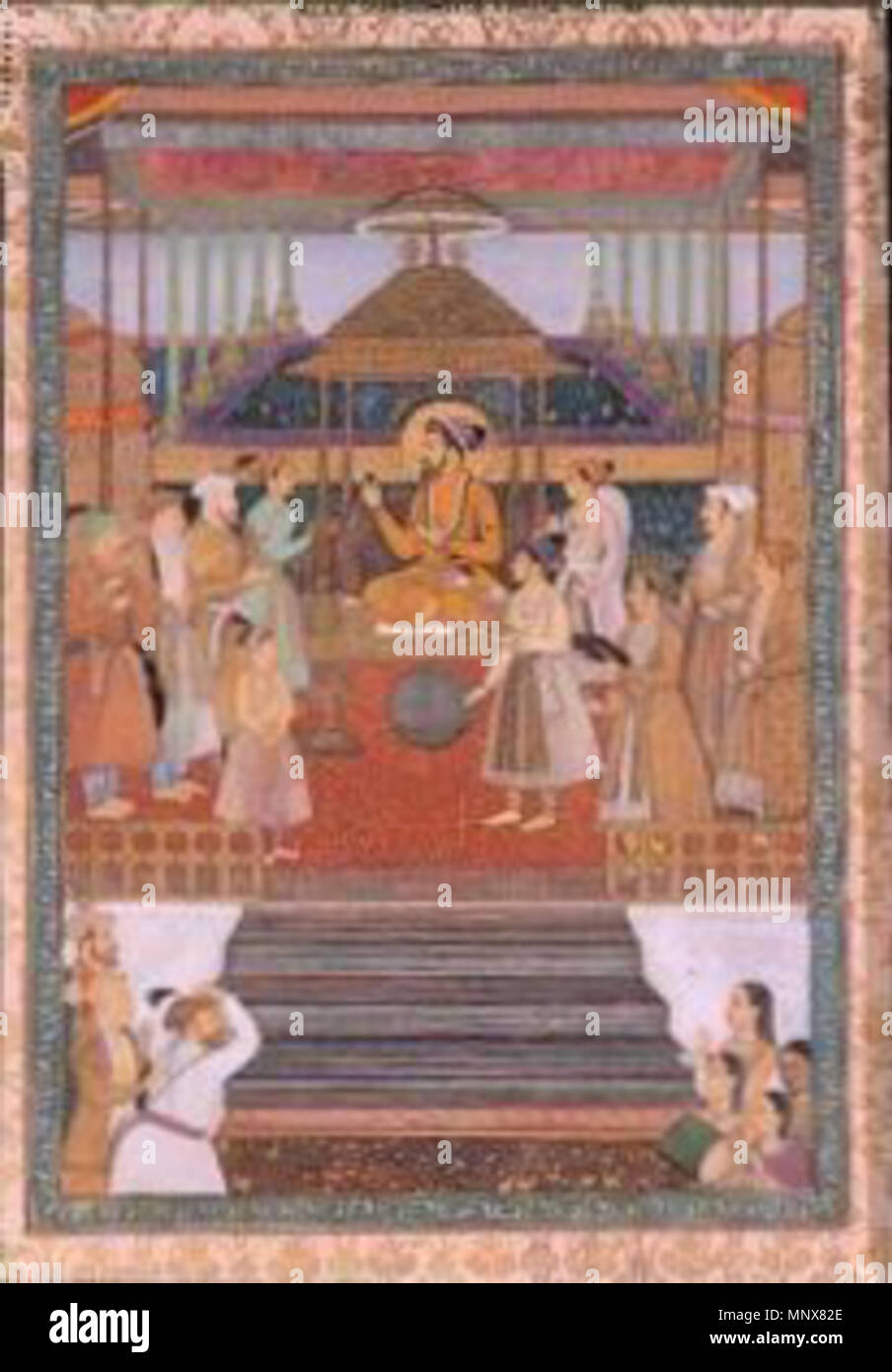 . English: Portrait of the Emperor Shah Jahan on the 'Peacock Throne'. Creation place: India Court: Mughal Series: Shah Jahan with his sons and nobles (L'empereur Shâh Jahân sur le Trône du Paon (Padshâh-nâma)); Celebration of Shah Jahan's Forty-sixth Solar Birthday; Shah Jahan on the Peacock Throne; Shha Jahan enthroned; Celebration of Shah Jahan's 46th Solar Birthda Media & Support: Opaque watercolor and gold on paper, mounted as an album page Display Dimensions: 14 7/16 in. x 9 27/32 in. (36.7 cm x 25 cm) Credit Line: Edwin Binney 3rd Collection Accession Number: 1990.352 . 1640. 'Abid, son Stock Photo
