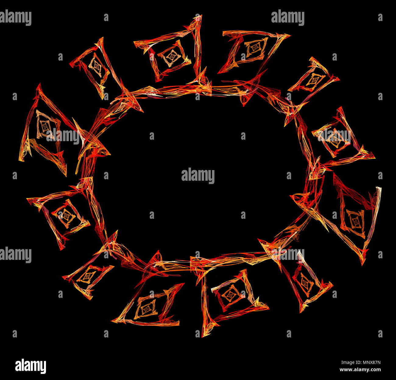 Fiery ornament oval frame colored abstract, horizontal, over black background - Stock Image