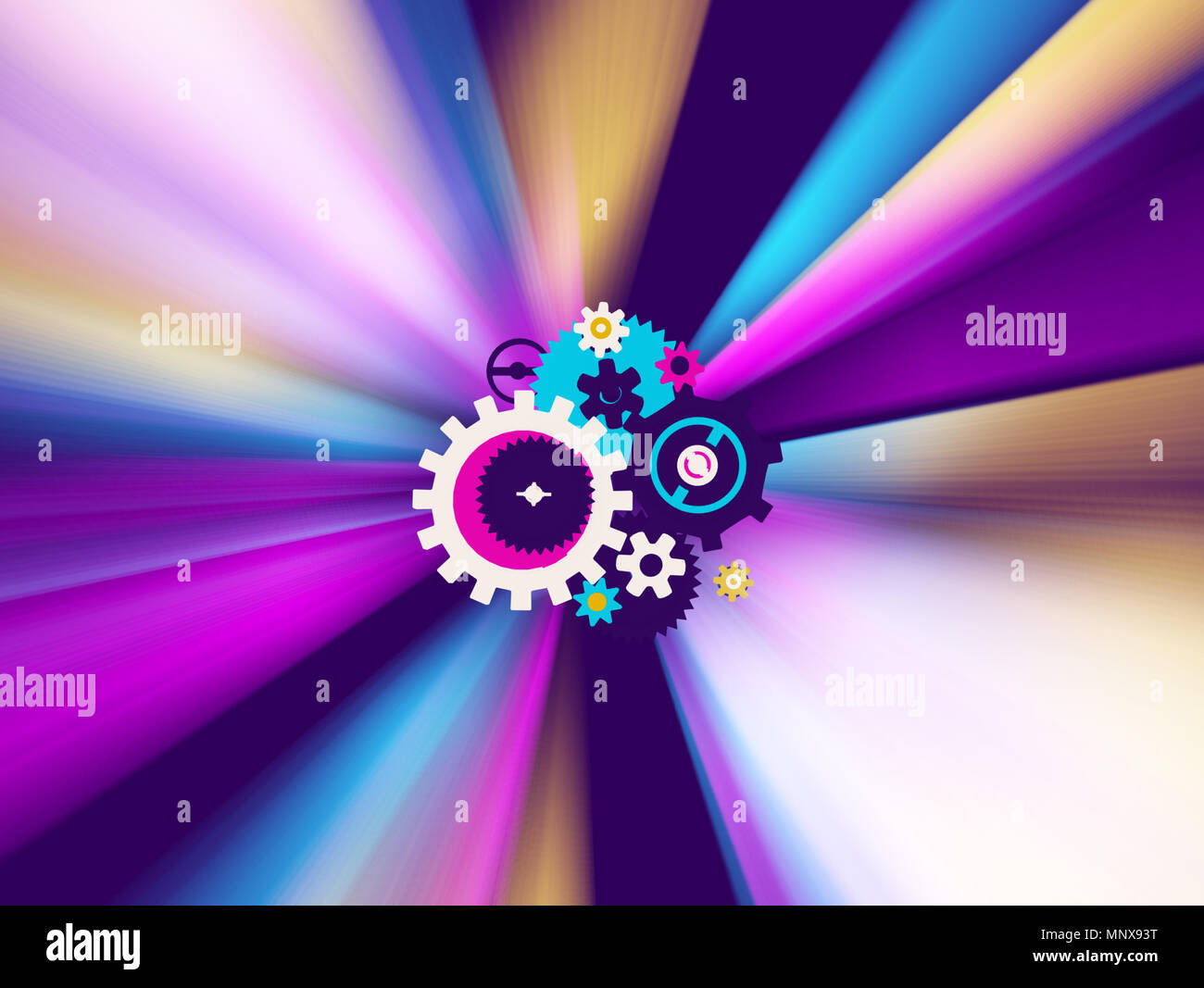 Color light spectrum 3d illustration, mechanism gears center, horizontal background - Stock Image