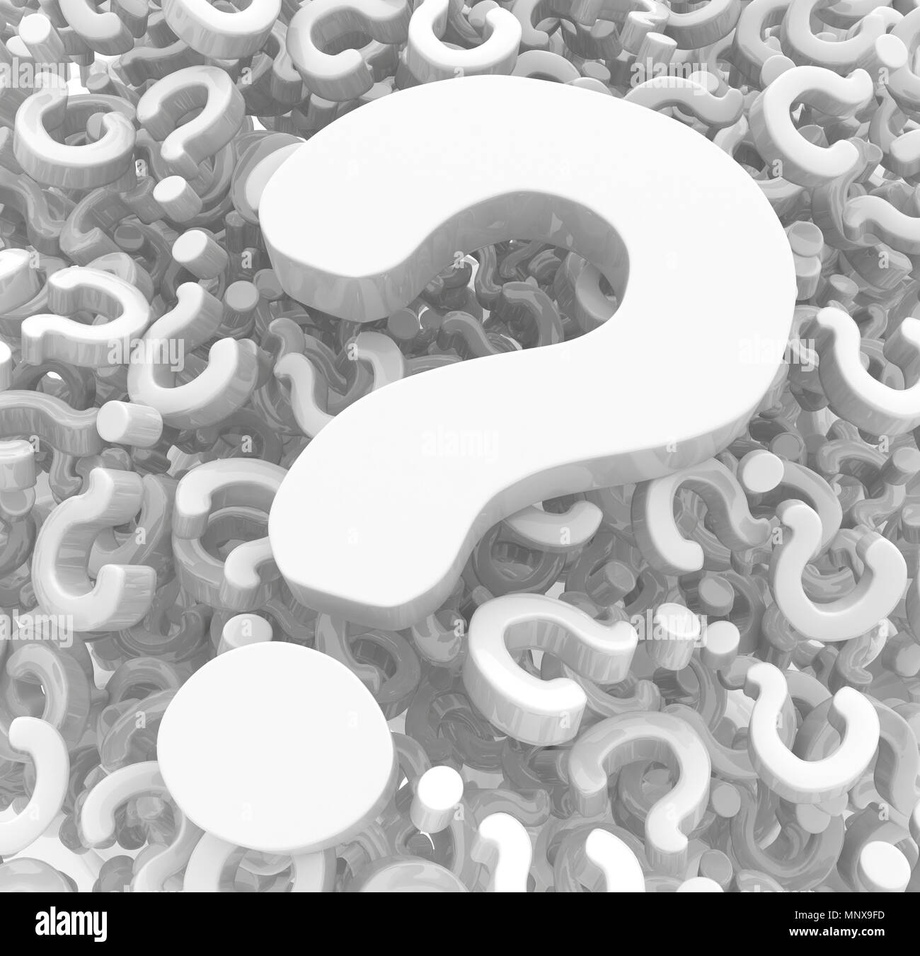 Question mark symbols white, 3d abstract, horizontal - Stock Image