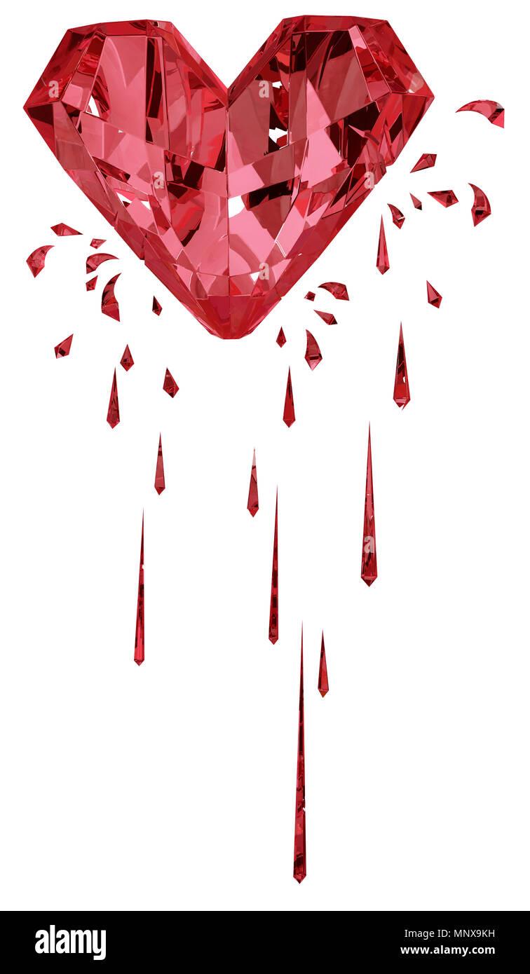Ruby red gem bleeding heart surreal 3d illustration, vertical, isolated, over white - Stock Image
