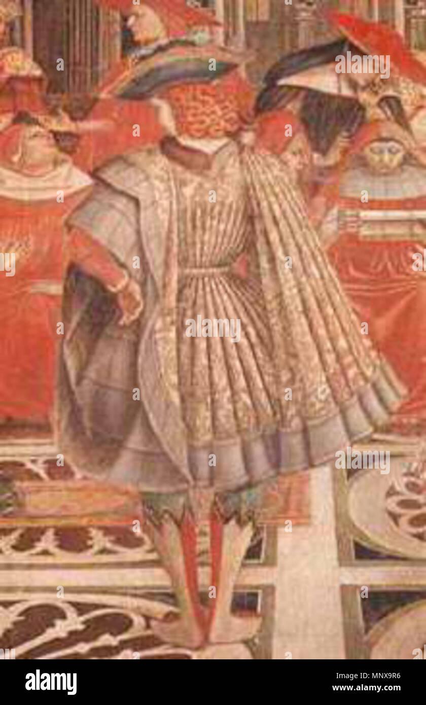 . Siennese Cioppa or short houppelande; detail of Pope Celestine III granting privileges to the Hospital, (Ospedale di Santa Maria della Scala, Siena) . 1442.   Domenico di Bartolo (1400–1445)  Alternative names Domenico di Bartolo Ghezzi; Domenico Di Bartolo  Description Italian painter  Date of birth/death circa 1400 circa 1447  Location of birth/death Asciano Siena  Work location Siena  Authority control  : Q737160 VIAF:50317096 ULAN:500002266 LCCN:nr89015405 WGA:DOMENICO DI BARTOLO GND:12981640X WorldCat 1119 Sienacioppa - Stock Image