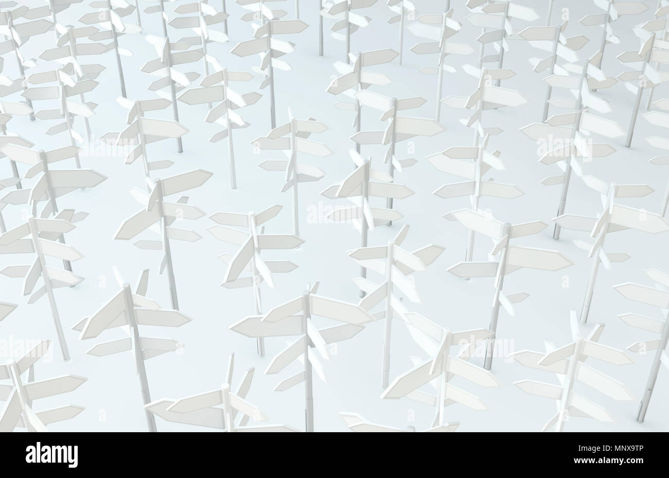 Direction signposts group white background, 3d illustration, horizontal - Stock Image