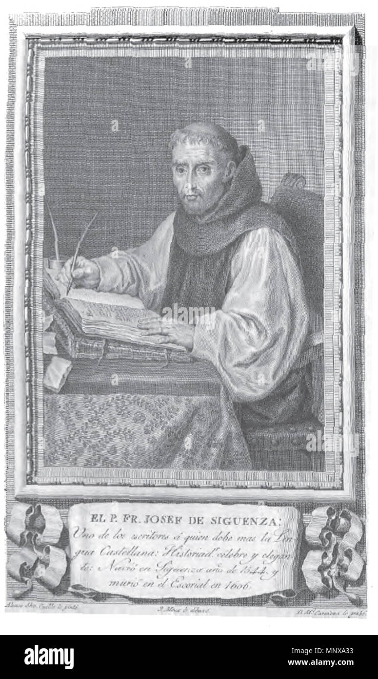 . Retrato de José de Sigüenza. 1791. Grabado de Manuel Salvador Carmona sobre un dibujo de José Maea 1120 Josef de Siguenza - Stock Image