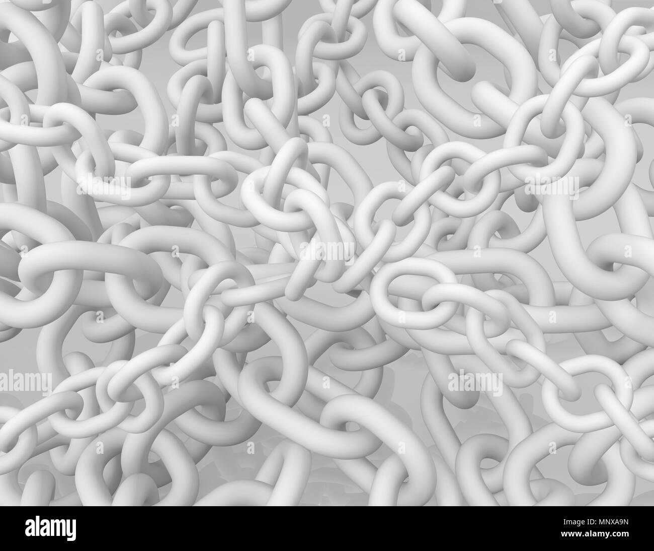 White chains many, 3d illustration, horizontal background - Stock Image