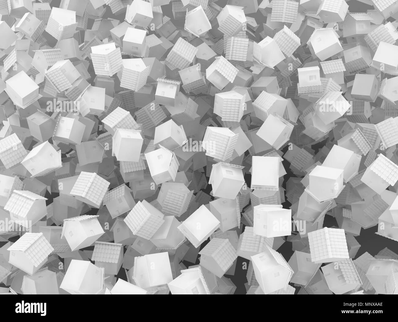 Small white cottages chaotic scatter, 3d illustration, background horizontal - Stock Image