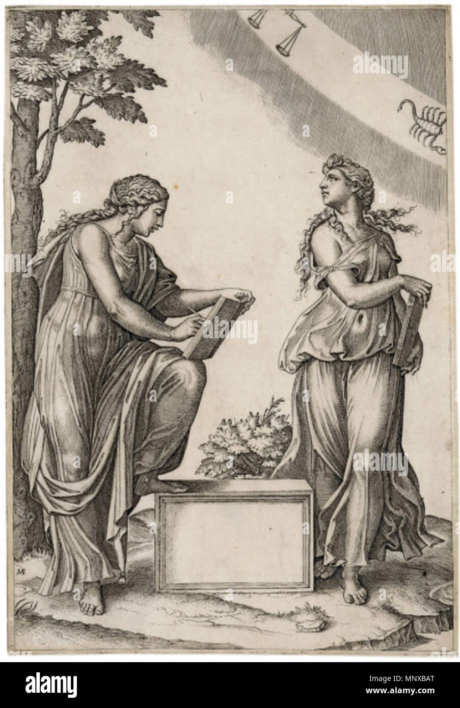 Two Women with the Signs of Libra and Scorpio  Engraving