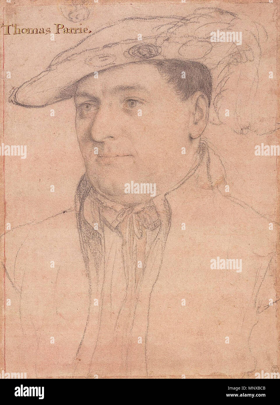. English: Portrait of Sir Thomas Parry. Black and coloured chalks, pen and Indian ink on pink-primed paper, 25.4 × 18.6 cm, Royal Collection, Windsor Castle. The scholar Paul Ganz did not attribute this drawing to Holbein, but K. T. Parker, in his study of the Windsor drawings, did so hesitantly. He wrote: 'The attribution is particularly difficult. Ganz's omission of the drawing may not be unjustified; but in spite of a rather soft and flabby dilineation, there is yet much of Holbein in it, and the way in which the hat badge is rendered in a separate sketch could not accord better with his c - Stock Image
