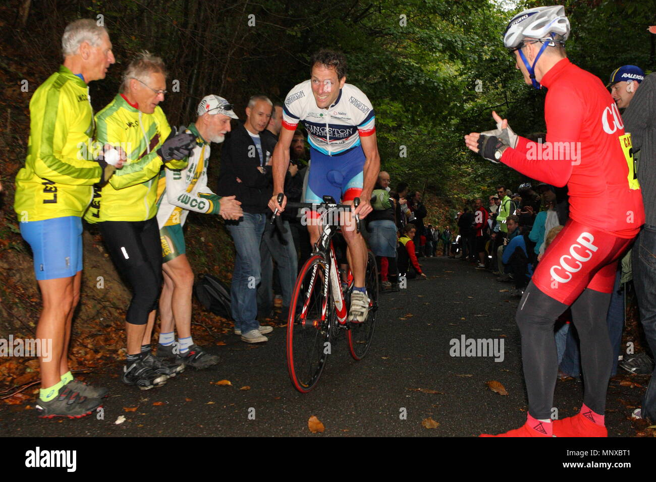 UK - Cycling - Cyclists compete in a time trial during the 116th Open Hill Climb. 10 October 2011 - Stock Image