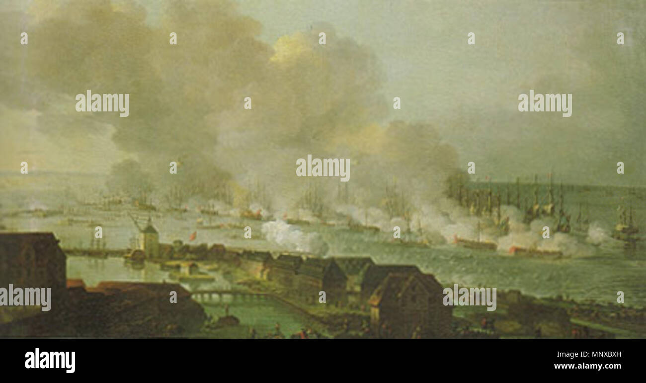 .  English: The battle of Copenhagen, by Christian August Lorentzen. The painting was ordered by the king (Crown Prince Frederick). It portrays the battle of Copenhagen 1801. The scenery is shown as seen from the tower of 'Vor Frues Kirke' ('Our Lady of Copenhagen', the Copenhagen Cathedral). It is believed that the painting gives a relatively correct picture of the battle around 13:00 hours. The Fortress Trekroner [Three Crowns] is located in the upper left of the picture flying a flag, in front of Trekroner is the smaller fort 'Lynetten'. The flag ship Dannebrog can be identified as the burn - Stock Image