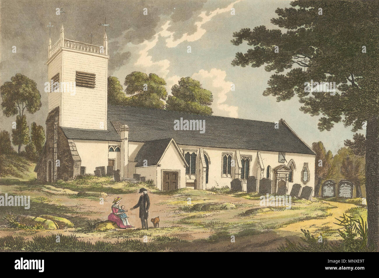 . English: St. Peter's Church, Caversham, Reading, from the south, showing the wooden tower and part of the churchyard. 1800-1809: print, drawn and engraved by Charles Tomkins, published 1804, from Tomkins' 'Views of Reading Abbey.' Black and white version at Dynix 1204766. between 1800 and 1809. Charles Tomkins 1139 St. Peter's Church, Caversham, 1800-1809 Stock Photo