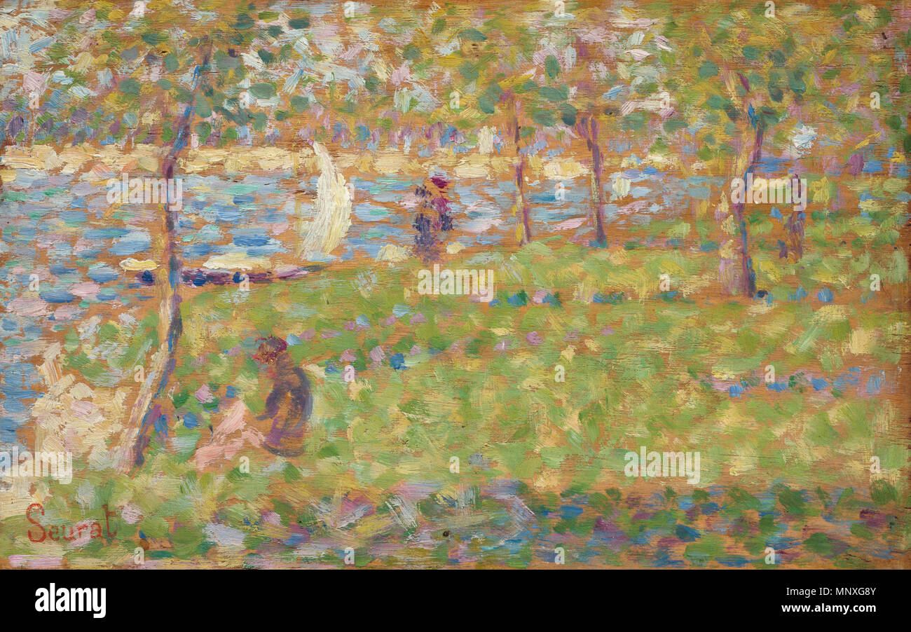 Painting; oil on wood; overall: 15.9 x 25 cm (6 1/4 x 9 13/16 in.) framed: 33.3 x 41.9 x 5.7 cm (13 1/8 x 16 1/2 x 2 1/4 in.);    English: Study for 'La Grande Jatte'   between 1884 and 1885.   1148 Study for La Grande Jatte, Georges Seurat, 1884 - Stock Image