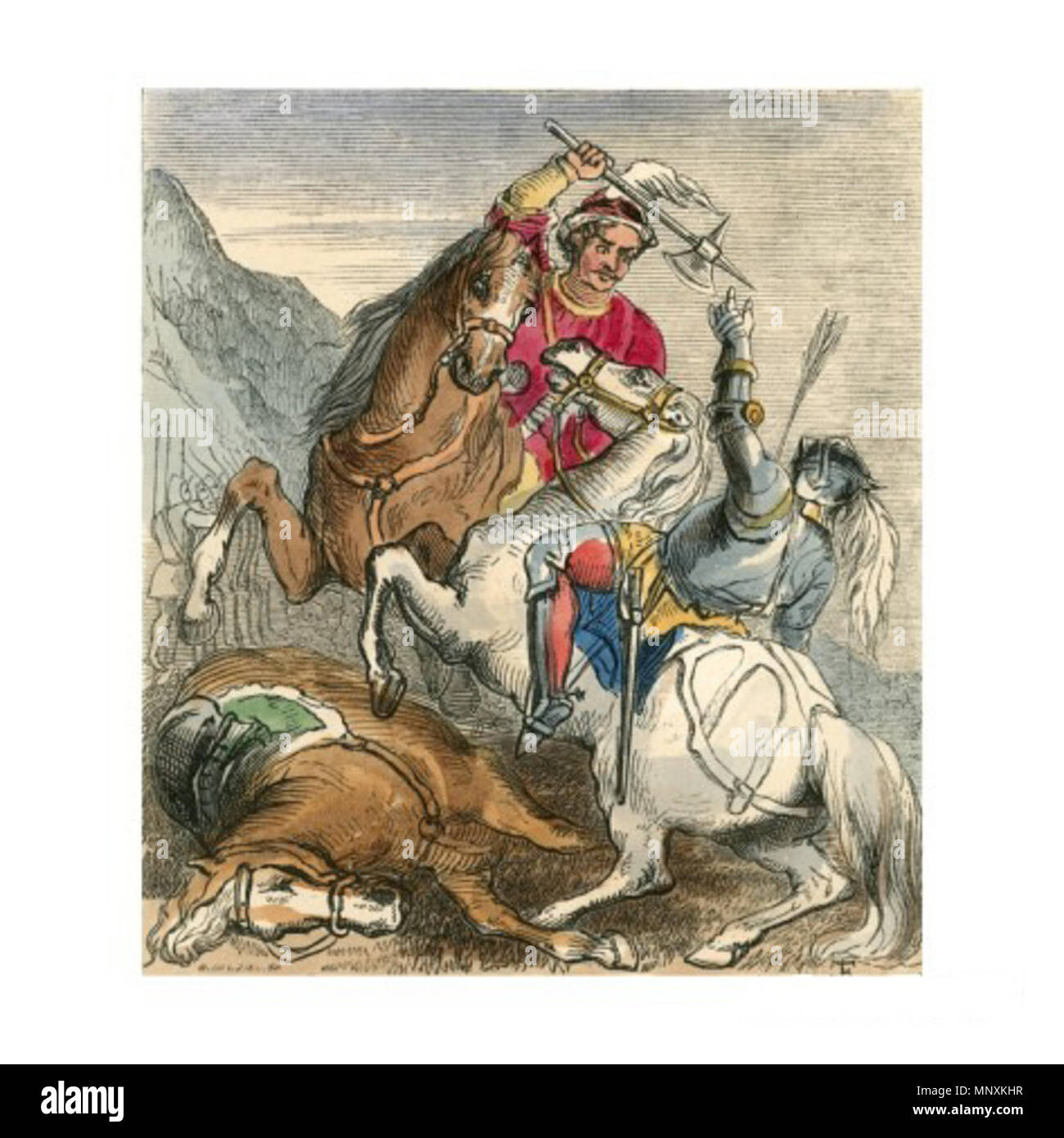 . English: Death of Earl Douglas. Illustration to the Ballad of Chevy Chase by F. Tayler. 19th century. John Frederick Tayler (1802-1889) was a British painter and printmaker 1163 Tayler Death of Earl Douglas - Stock Image