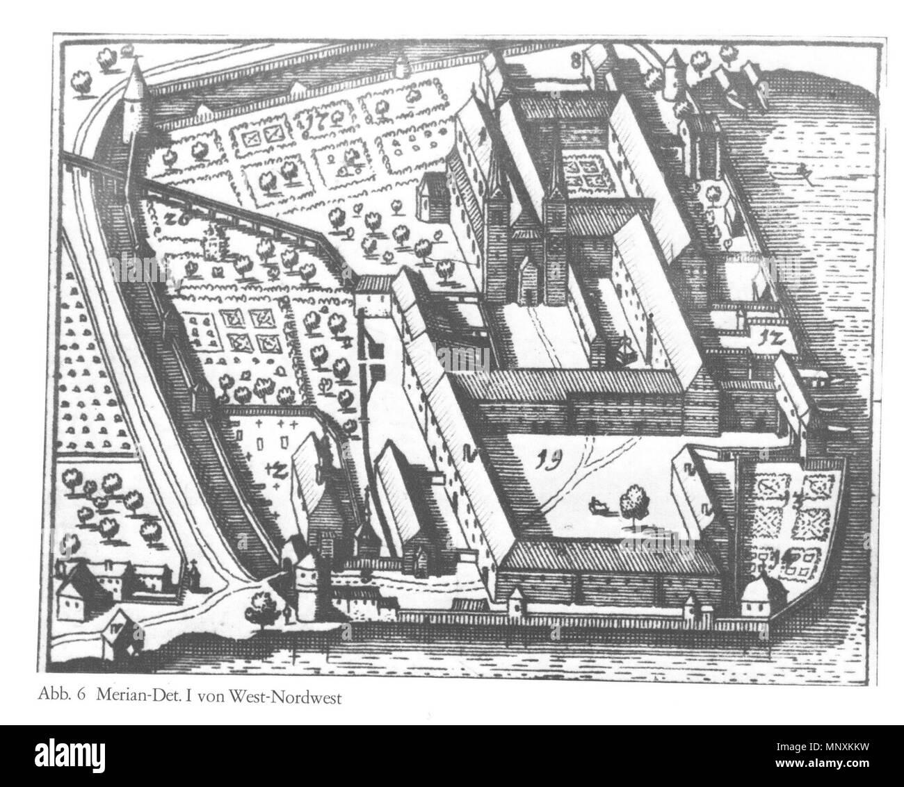 .  Deutsch: Kloster Tegernsee, Ansicht von West-Nordwest, Detaildarstellung in Matthäus Merian: Topographica Bavaria, 1644 . 1644.   1164 Tegernsee Merian 02 Stock Photo