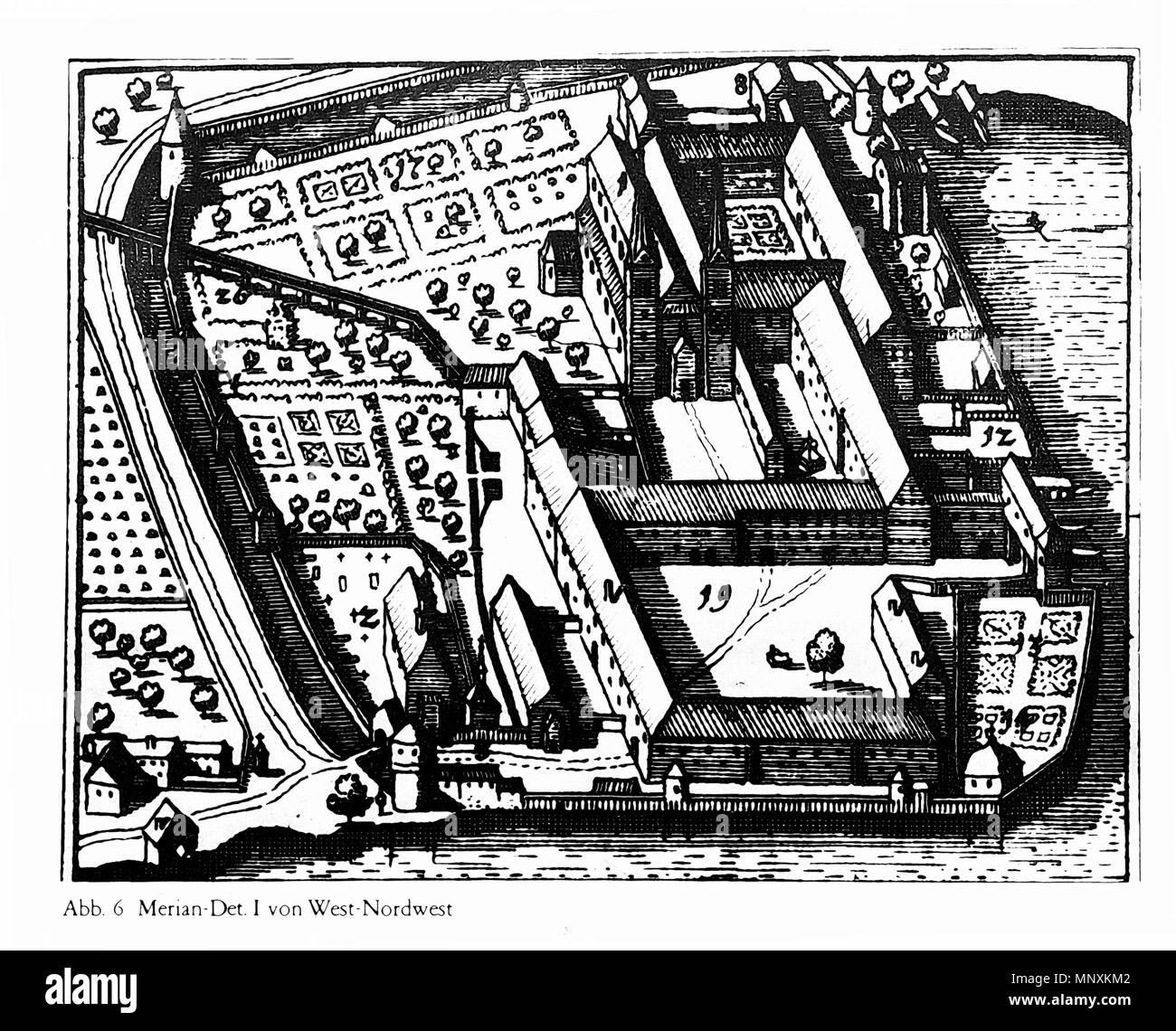 .  Deutsch: Kloster Tegernsee, Ansicht von West-Nordwest, Detaildarstellung in Matthäus Merian: Topographica Bavaria, 1644 . 1644.   1164 Tegernsee Merian-LF Stock Photo