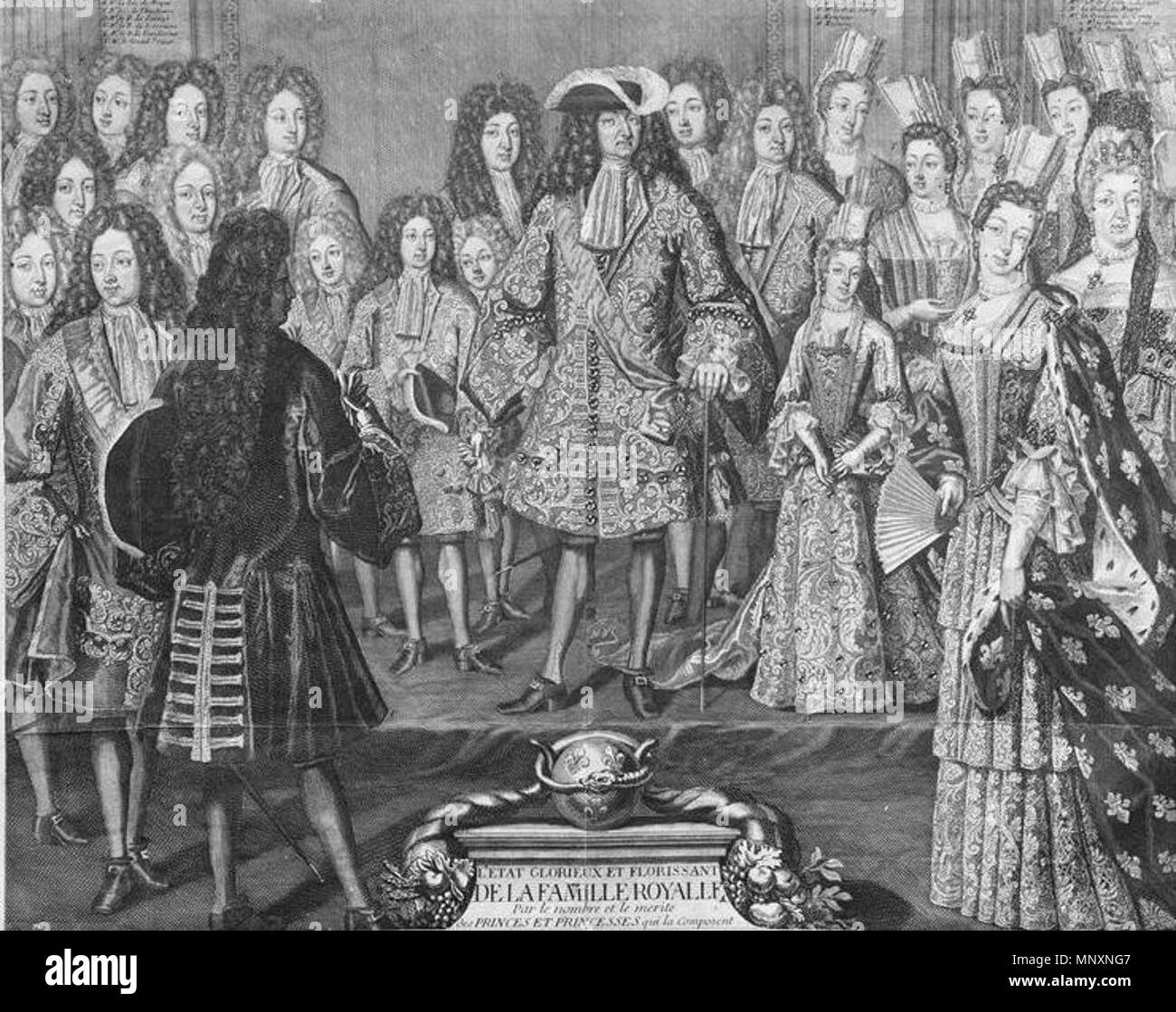 English: The French royal family in 1698, engraving in the Almanach royal  for the year 1699 . 1698. Anonymous 1174 The French Royal Family in 1698