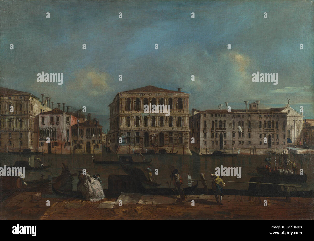 English: Venice: The Grand Canal with Palazzo Pesaro   from 1755 until 1760.   1174 The Grand Canal with Palazzo Pesaro, Francesco Guardi Stock Photo