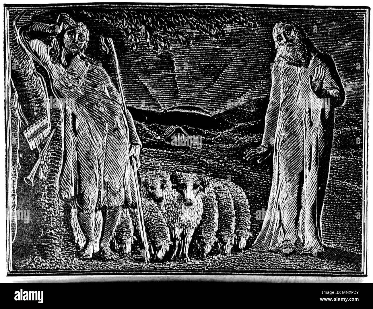 . English: The Pastorals of Virgil, related materials, object 5 woodblock bb504 bm-woodengraving 5 300bw . 15 June 2013, 09:49:12.   William Blake (1757–1827)   Alternative names W. Blake; Uil'iam Bleik  Description British painter, poet, writer, theologian, collector and engraver  Date of birth/death 28 November 1757 12 August 1827  Location of birth/death Broadwick Street Charing Cross  Work location London  Authority control  : Q41513 VIAF:54144439 ISNI:0000 0001 2096 135X ULAN:500012489 LCCN:n78095331 NLA:35019221 WorldCat     This is a faithful photographic reproduction of a two - Stock Image