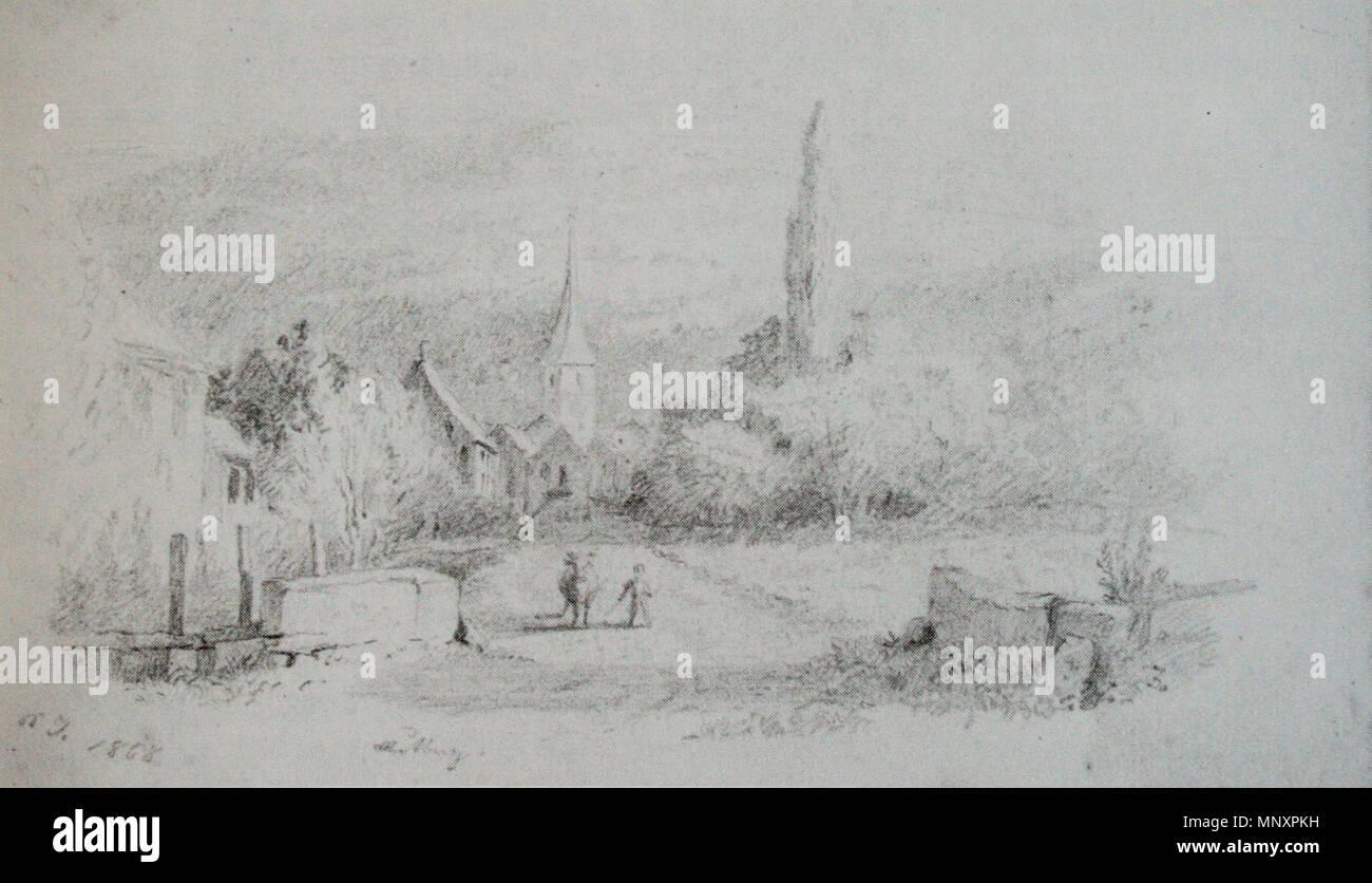 . Ansicht von Muttenz aus dem Skizzenbuch von 1868, von Karl Jauslin, Chromolithografie, Bleistift, 10.5x17 cm . 1868 , upload Januar 2009.   708 Jauslin Muttenz 1868 - Stock Image