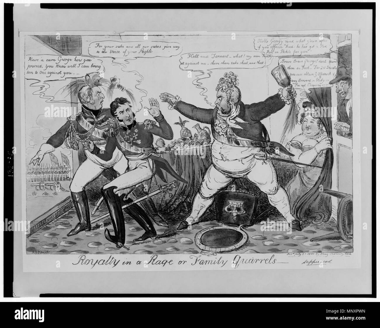 . English: Title: Royalty in a rage or family quarrels Abstract: Print showing George IV in a rage against family members (Frederick and William) who are unwilling to lend their support for the Bill of Pains and Penalties and his divorce from Caroline; he smashes a bottle of wine over the head of Frederick and prepares to throw another bottle at William. A woman, possibly Lady Conyngham, offers words of encouragement from behind a drape, while a man leaning through a window says, 'Hollo Georgy, mind what y'our after if you offend Fred: he has got a Red Rod in Pickle for you.' Physical descript - Stock Image