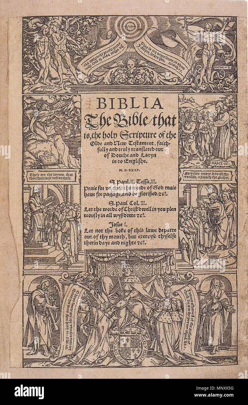 English: Title page of the Coverdale Bible  Woodcut, 24