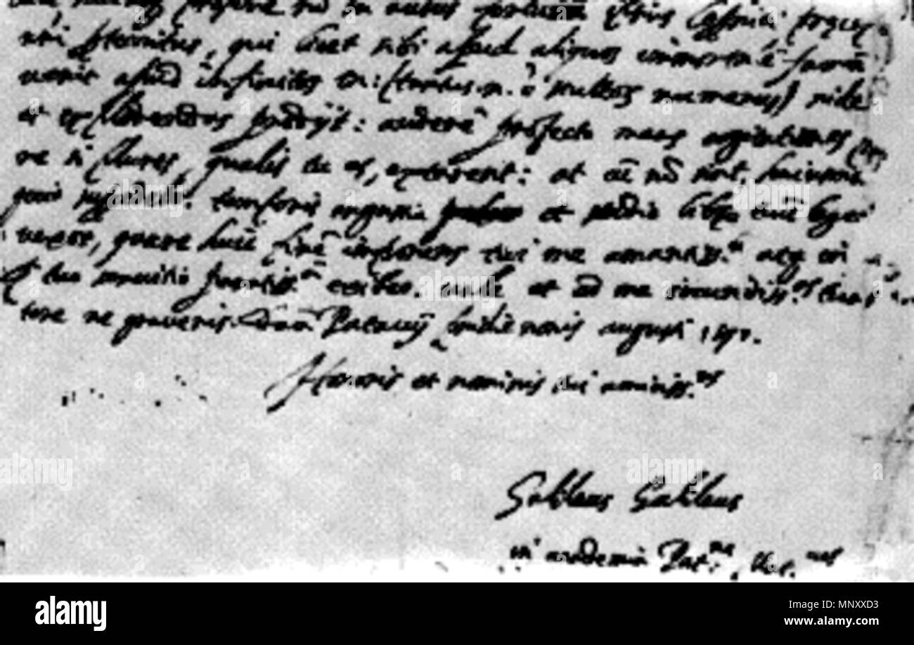 English: The letter from Galileo, to Kepler . 4 August 1597. Galileo 1197  To Kepler, From Galileo