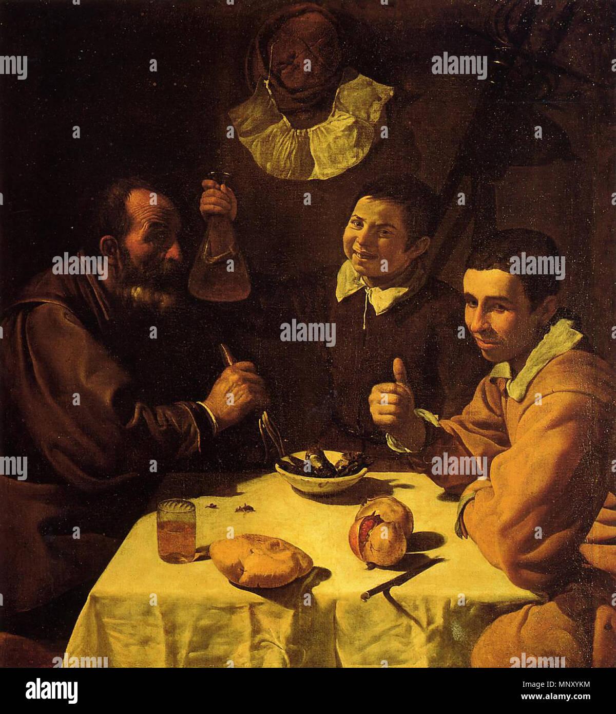 1204 Tres hombres sentados a la mesa, by Diego Velázquez - Stock Image