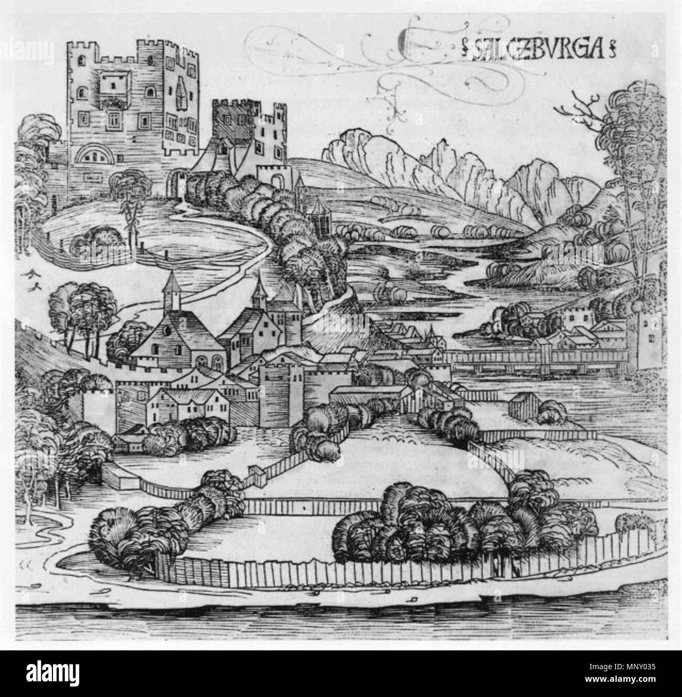 . Deutsch: Trompeterschlössel . 1493. Hartmann Schedel (verstorben 1514) 1206 Trompeterschloessl-2 - Stock Image