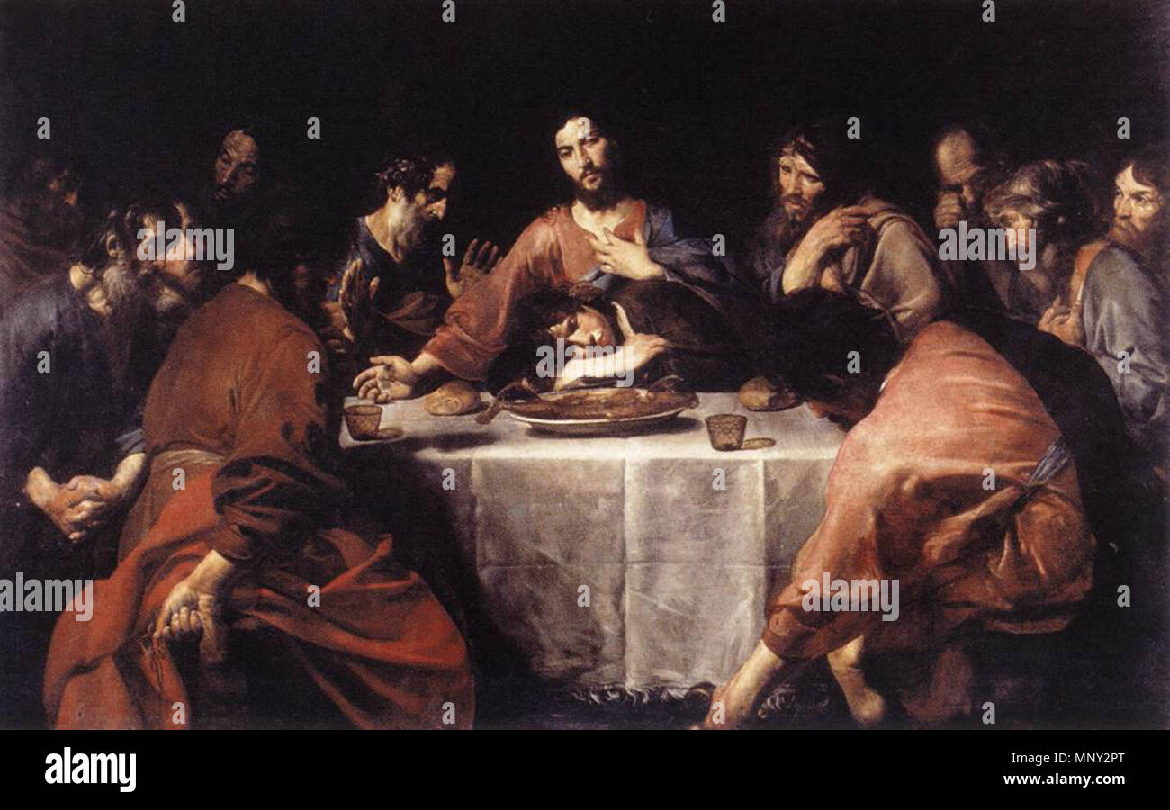 http://www.wga.hu/art/v/valentin/lastsupp.jpg    . The Last Supper . between 1625 and 1626.    Valentin de Boulogne (1591–1632)  Alternative names Jean Valentin Le Valentin  Description French painter  Date of birth/death 3 January 1591 (baptised) 20 August 1632 (buried)  Location of birth/death Coulommiers Rome  Work location Rome (1612-1632)  Authority control  : Q1337275 VIAF:120746211 ISNI:0000 0001 1580 793X ULAN:500021073 LCCN:no90018840 WGA:VALENTIN DE BOULOGNE WorldCat 1218 Valentin de Boulogne, Last Supper - Stock Image