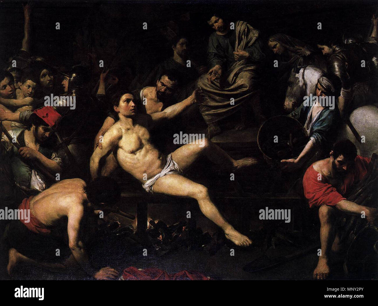http://www.wga.hu/art/v/valentin/martyrdo.jpg    . 'Martyrdom of St Lawrence', Oil on canvas, 195 x 261 cm Museo del Prado, Madrid . between 1621 and 1622.   Valentin de Boulogne (1591–1632)  Alternative names Jean Valentin Le Valentin  Description French painter  Date of birth/death 3 January 1591 (baptised) 20 August 1632 (buried)  Location of birth/death Coulommiers Rome  Work location Rome (1612-1632)  Authority control  : Q1337275 VIAF:120746211 ISNI:0000 0001 1580 793X ULAN:500021073 LCCN:no90018840 WGA:VALENTIN DE BOULOGNE WorldCat 1218 Valentin de Boulogne, Martyrdom of St Lawr - Stock Image