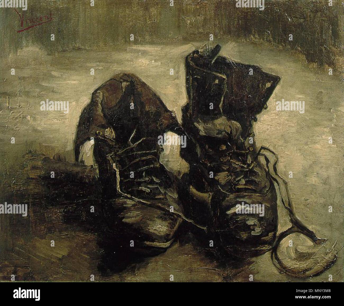 A Pair of Shoes .  English: A pair of shoes Italiano: Un paio di scarpe Français: Une paire de chaussures . 1887.   1222 Scarpe - Stock Image
