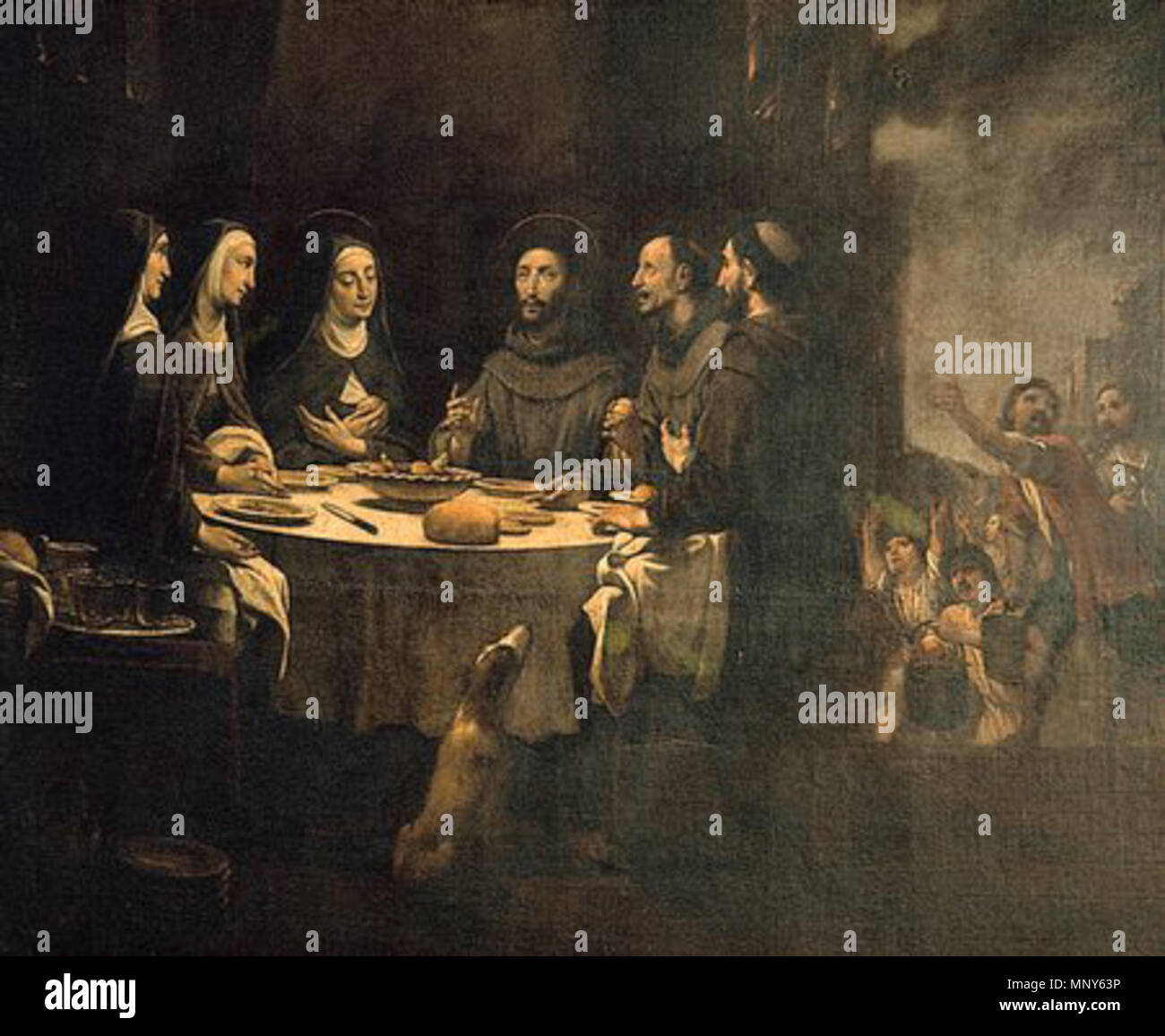 Saint Francis and Saint Clare at Supper in the Convent of Saint Damian   between 1724 and 1733.   1236 ViladomatFrancescSopar - Stock Image