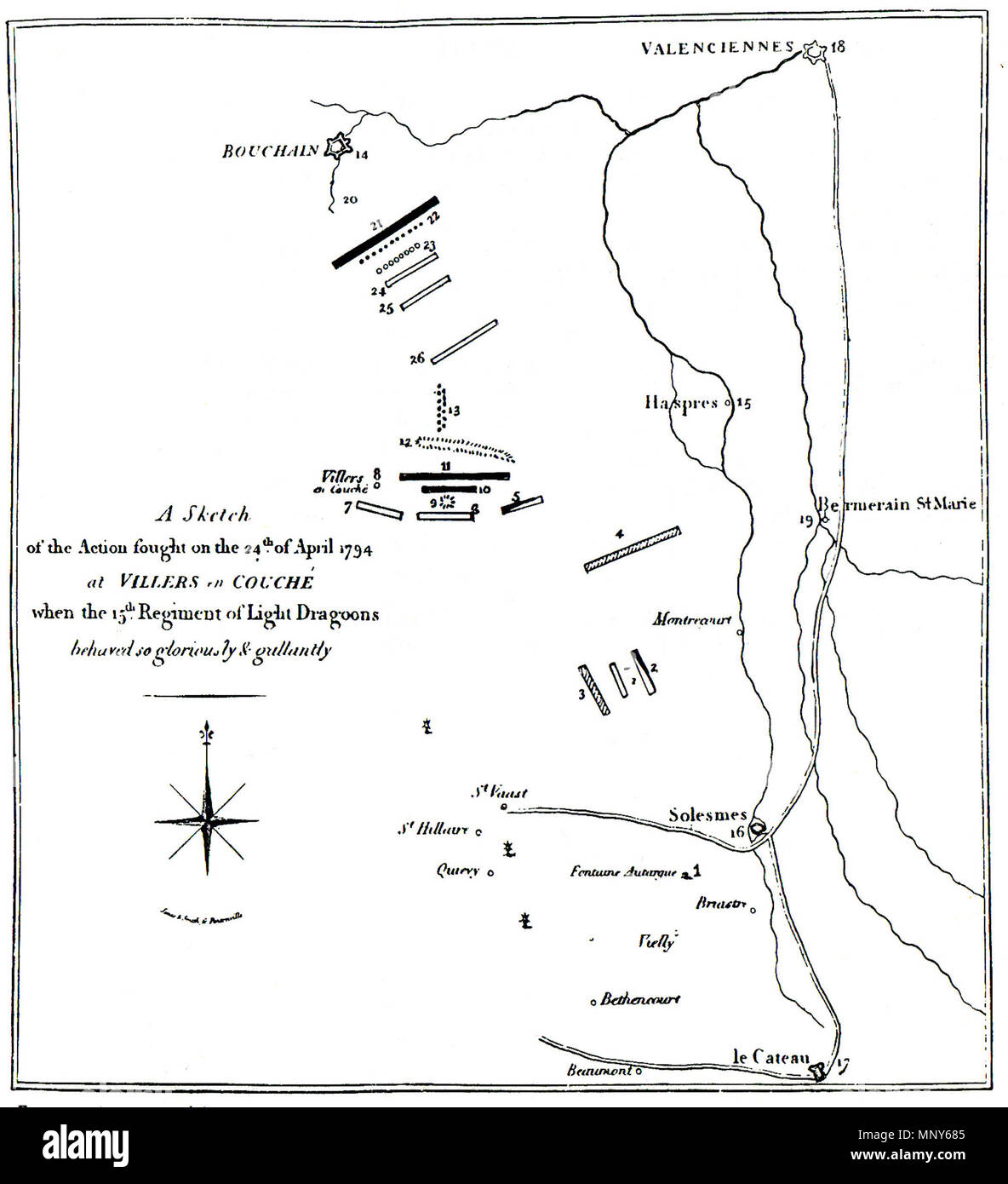 . English: The Action at Villers-en-Cauchies 24th April 1794, reproduced in XVth (The King's Hussars) 1759 to 1913 (Colonel H. C. Wylly, Caxton Publishing 1914) Numerical Description of the Sketch of the Action of April 24, 1794 1.Fontaine au Targue, a farm-house, where the hussars, the heavy cavalry, and 15th Light Dragoons lay on their army the night previous to the attack. 2. The 15th Light Dragoons and hussars marching to the attack. 3. The heavy cavalry marching to the attack. 4. The heavy cavalry hear abandoned the light dragoons. 5. Austrian Hussars. 6. The right squadron of the 15th Li - Stock Image