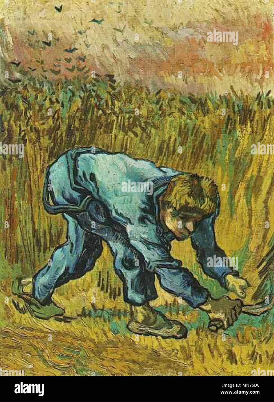 The Reaper (after Millet) . English: Oil painting reproduction of ...