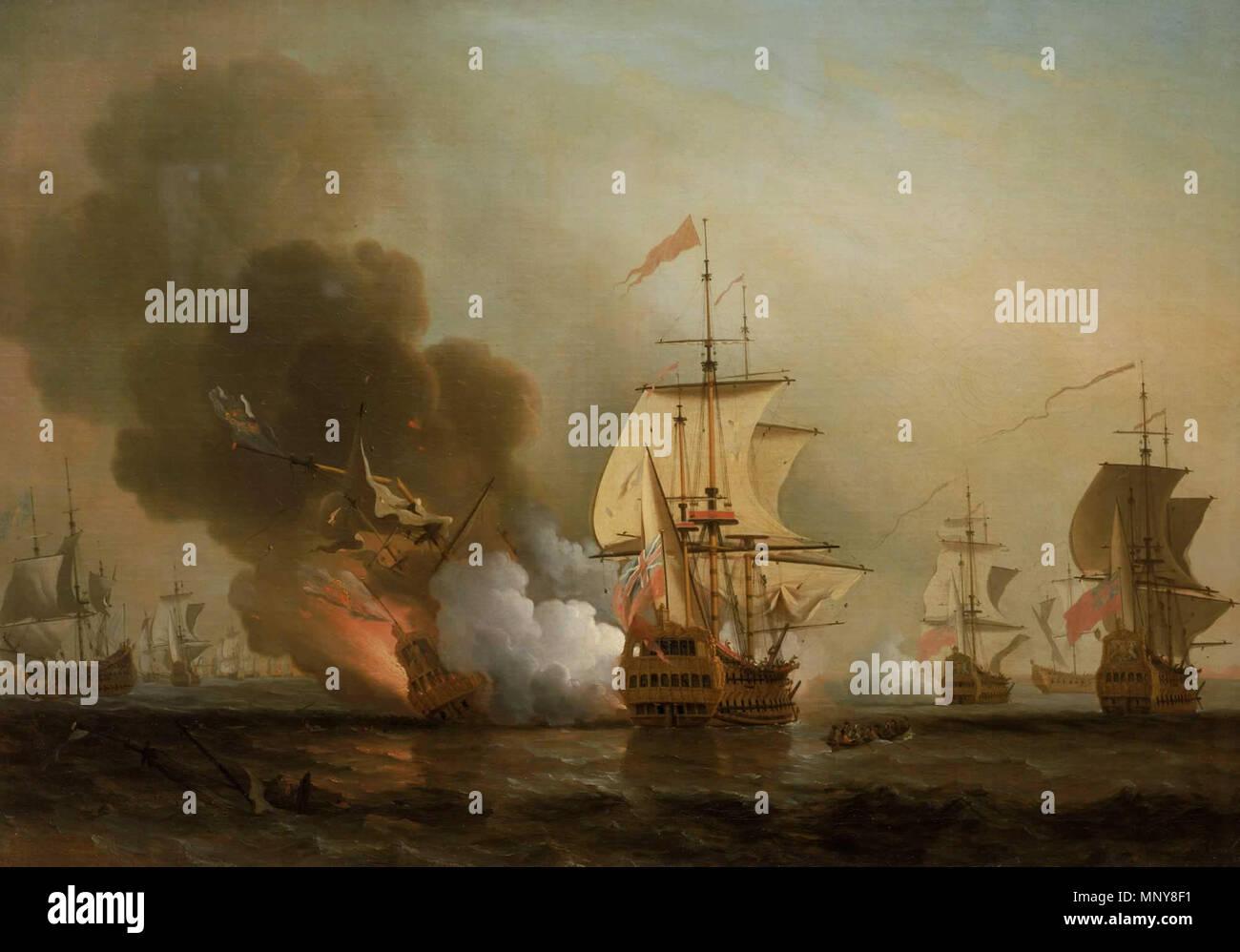 .  English: Action off Cartagena, May 28, 1708 Français: Combat naval au large de Carthagène, 28 mai 1708. Une escadre britannique attaque la flotte de l'or espagnole. Un navire espagnol est capturé, un autre contraint de s'échouer, et le San Jose qui transportait l'essentiel du trésor espagnol, est détruit par l'explosion de sa poudrière. . before 1772.   1248 Wager's Action off Cartagena, 28 May 1708 - Stock Image