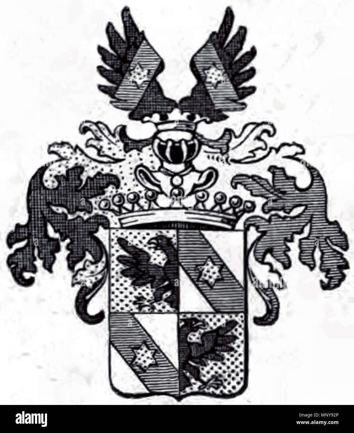 . Deutsch: Wappen der Grafen Alberti von Enno 1714 . 1714/(book 1859). Unknown 1251 Wappen der Grafen Alberti von Enno - Stock Image
