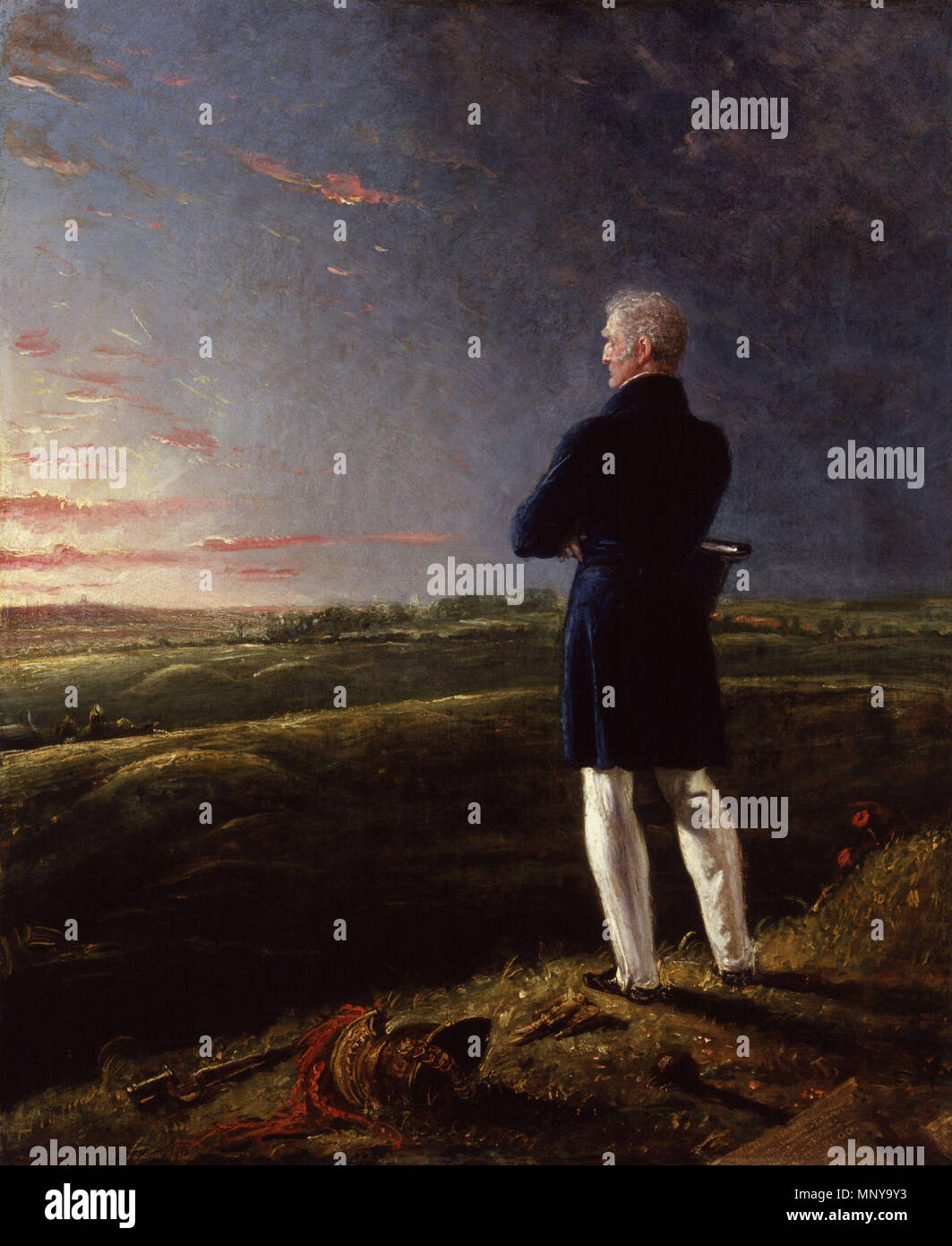 Arthur Wellesley, 1st Duke of Wellington . Arthur Wellesley, 1st Duke of Wellington, overlooking the rolling field at Waterloo at sunrise, a companion piece to Napoleon Bonaparte on St Helena gazing across the sea at sunset. See website for additional information. Unknown date, but before 1846.   1255 Arthur Wellesley, 1st Duke of Wellington by Benjamin Robert Haydon - Stock Image