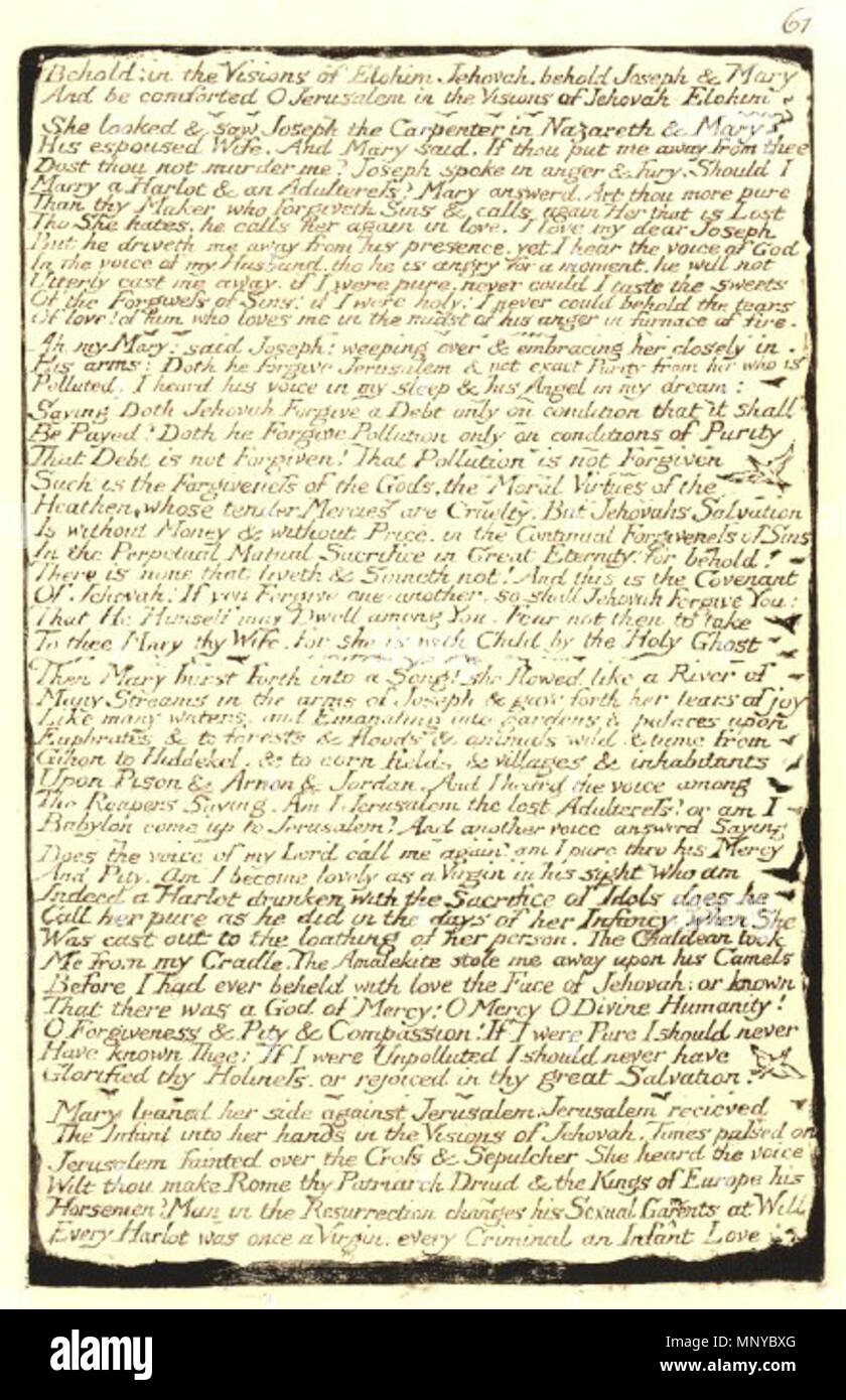 English William Blake Plate 61 Jerusalem Copy A 15 November 2013 203719 1757 1827 Alternative Names W Uiliam Bleik