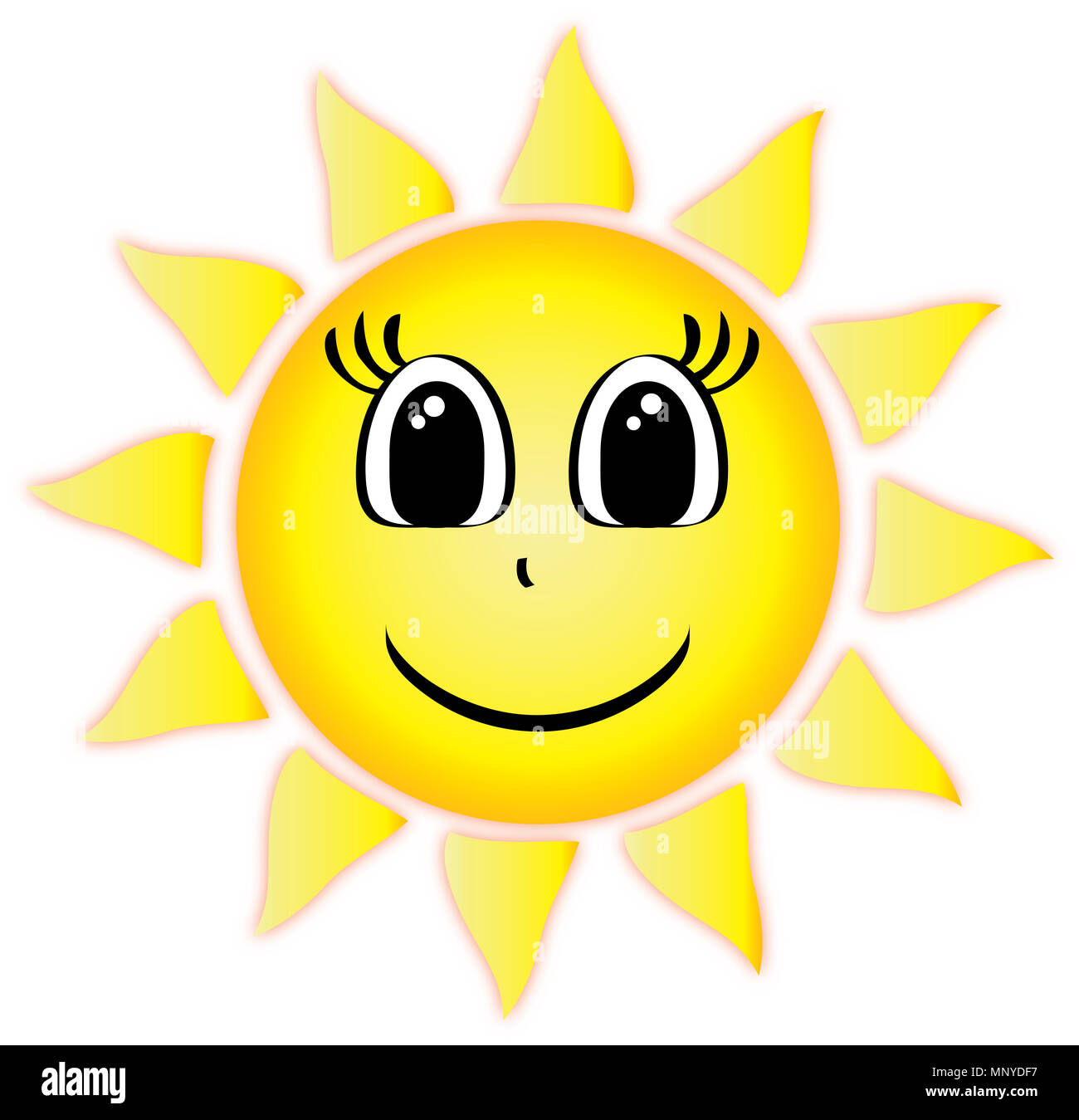 Summer Sun with smiling face - Stock Image