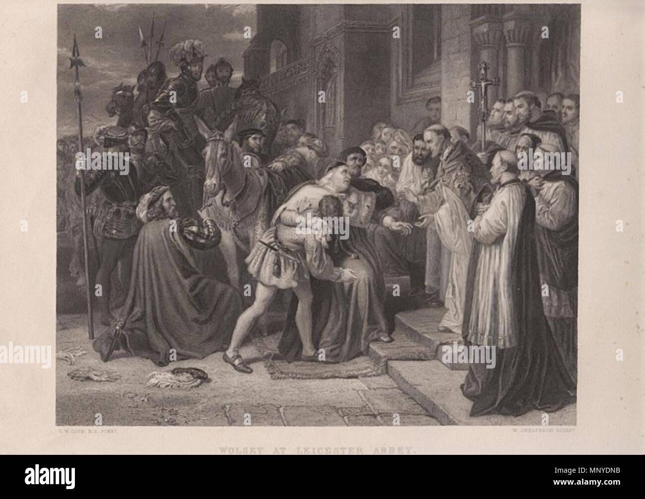 Русский: То́мас Уо́лси (1473 — 1530) в Лестерском аббатстве. Гравюра из The  Art-Journal. 1859. 1859. Charles West Cope (d. 1890) 1272 Wolsey at  Leicester ...