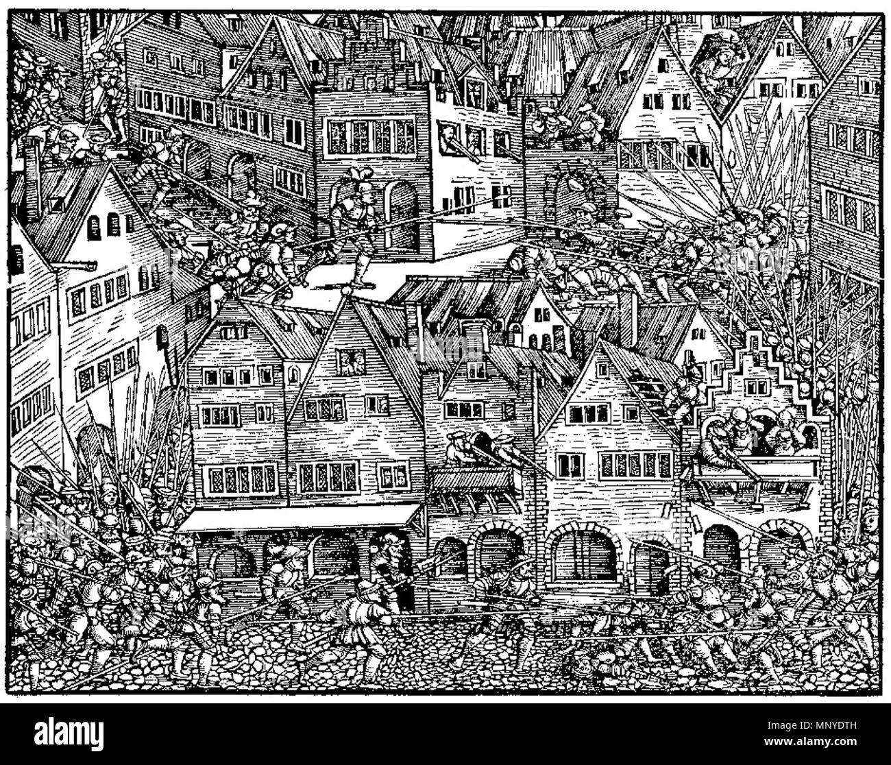 Mordnacht von Zürich 1350   1548.   1273 Woodcut from Stumpf Gemeiner loblicher 1 Stock Photo