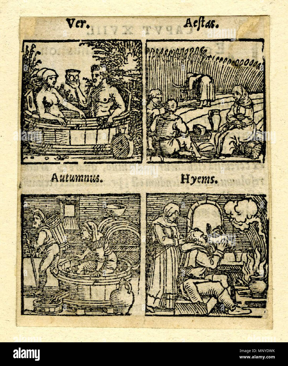 . English: Printed in two rows on the same sheet with the Latin titles above each woodcut in italics. Spring (Pauli 1214): a man and a woman sitting in a large wooden bath in the open air. Summer (1216): three peasant having lunch in a cornfield, another woman reaping. Autumn (Pauli 1217): A man treading grapes in a wine-press, another walking away with a wooden basket. Winter (Pauli 1211): A man sitting in front of a fire, drinking from a jug, a woman standing behind him. Illustration to Johannes Curio and Jakob Crell, 'De conservanda bona valetudine...', Frankfurt: Chr. Egenolph, 1553. Woodc Stock Photo