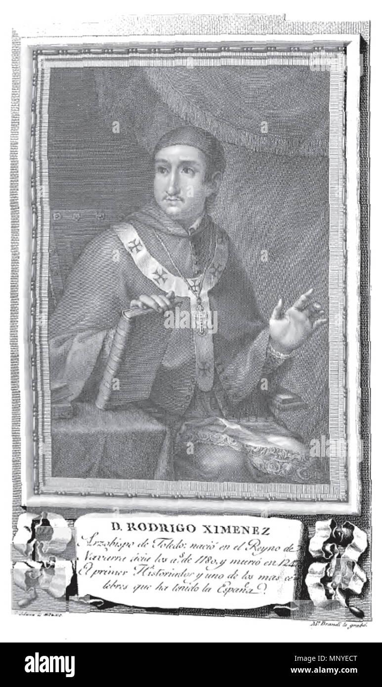 . Retrato de Rodrigo Jiménez de Rada. 1791. Mariano Brandi (grabado), José Maea (dibujo) 1275 Rodrigo Ximenez - Stock Image