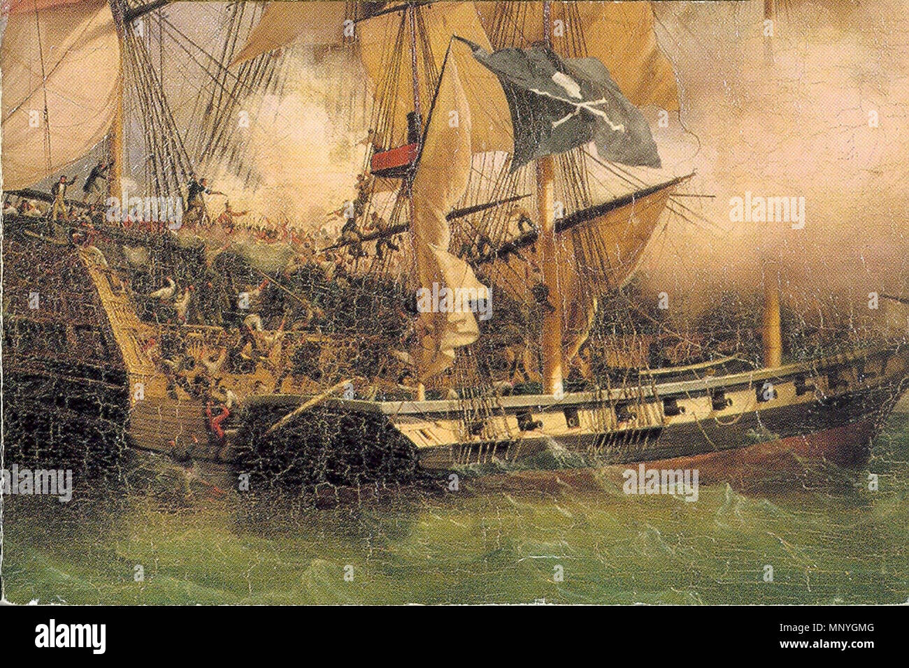 English: A painting showing a pirate ship attacking a merchants's