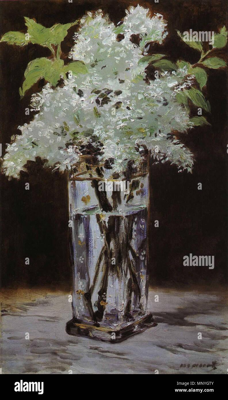 1289 Édouard Manet - Lilas blanc dans un vase de christal (RW 418) - Stock Image
