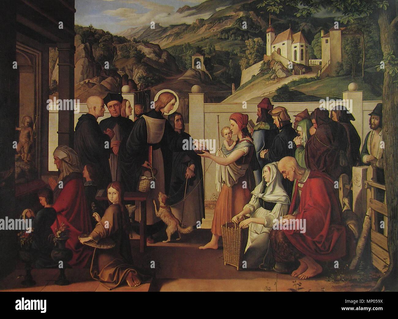 .  Deutsch: Der hl. Rochus, Almosen verteilend . 1817.   752 Julius Schnorr von Carolsfeld - Hl. Rochus 1817 - Stock Image