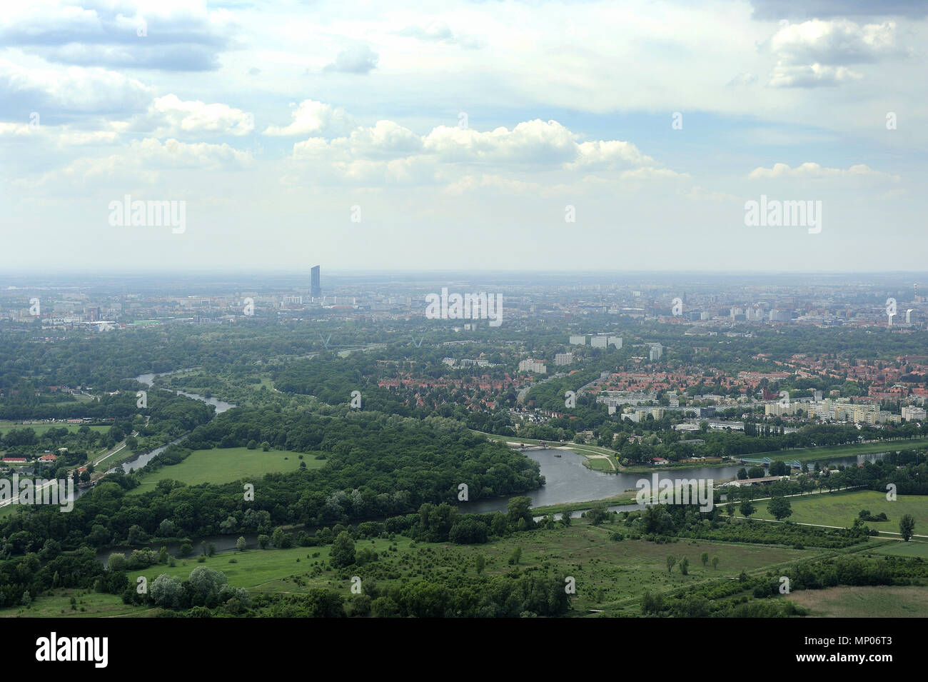 Wroclaw, aero, air, dolnoslaskie, architecture, old town, silesia, travel, poland, europe, landscape, Odra, river - Stock Image