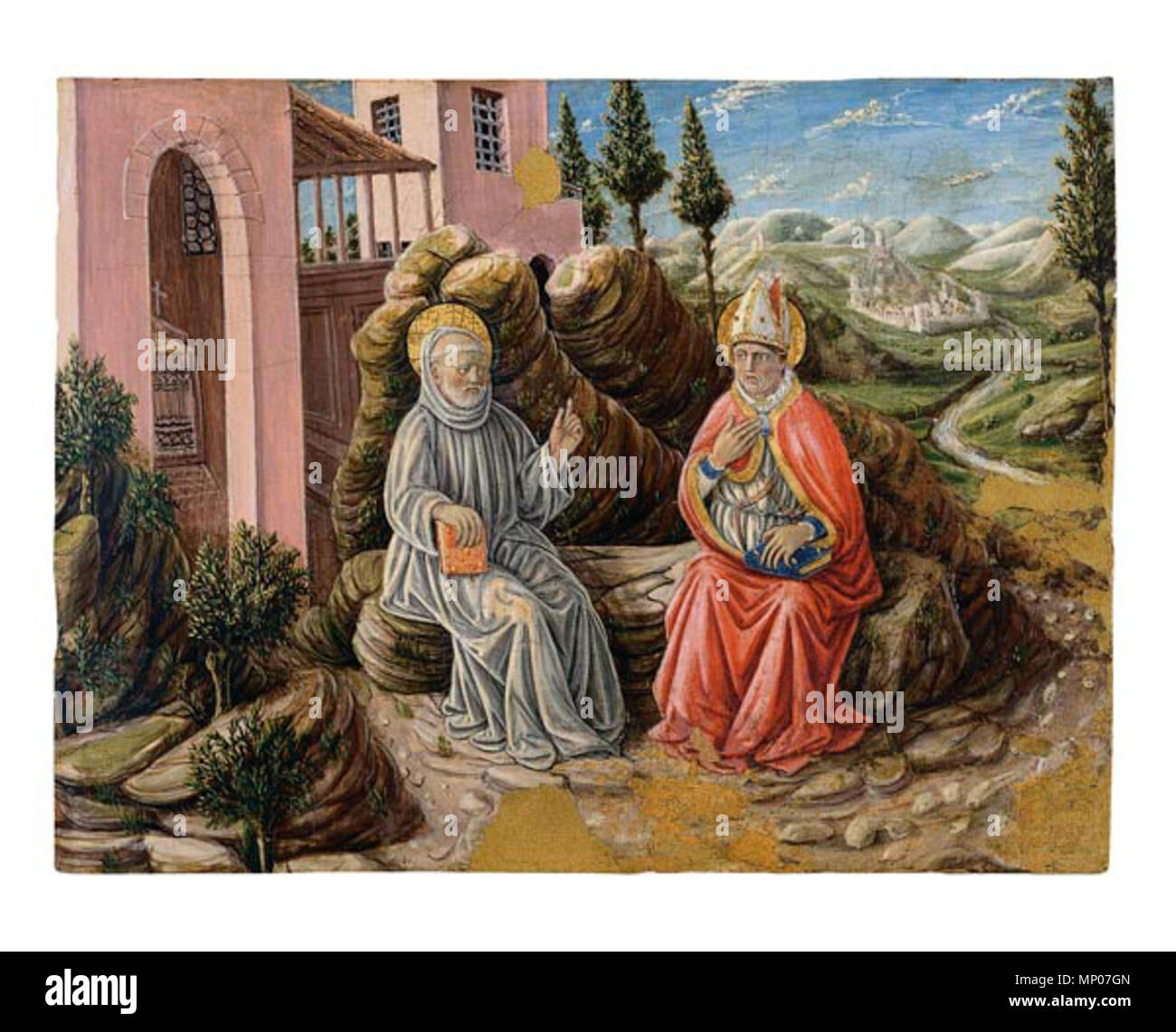 256THYSSEN- II 5. 1094 Sant Sabí conversant amb sant Benet.Boccati.MNAC Stock Photo