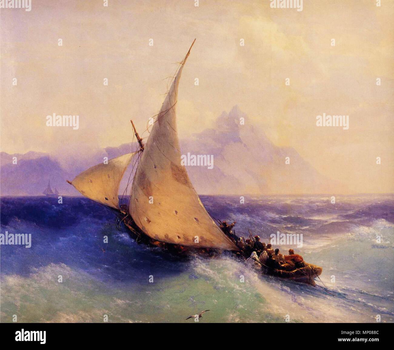 etude - seascape with ship on sea Sea Oil Ivan Constantinovich Aivazovsky