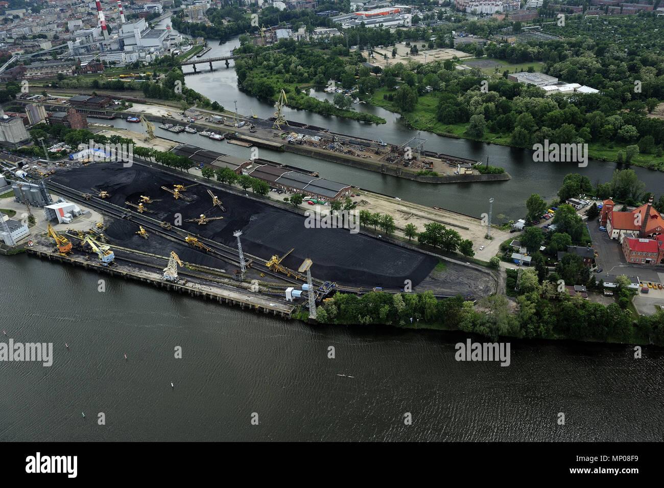 Wroclaw, aero, air, dolnoslaskie, architecture, Odra, river, old town, silesia, travel, poland, europe, landscape - Stock Image